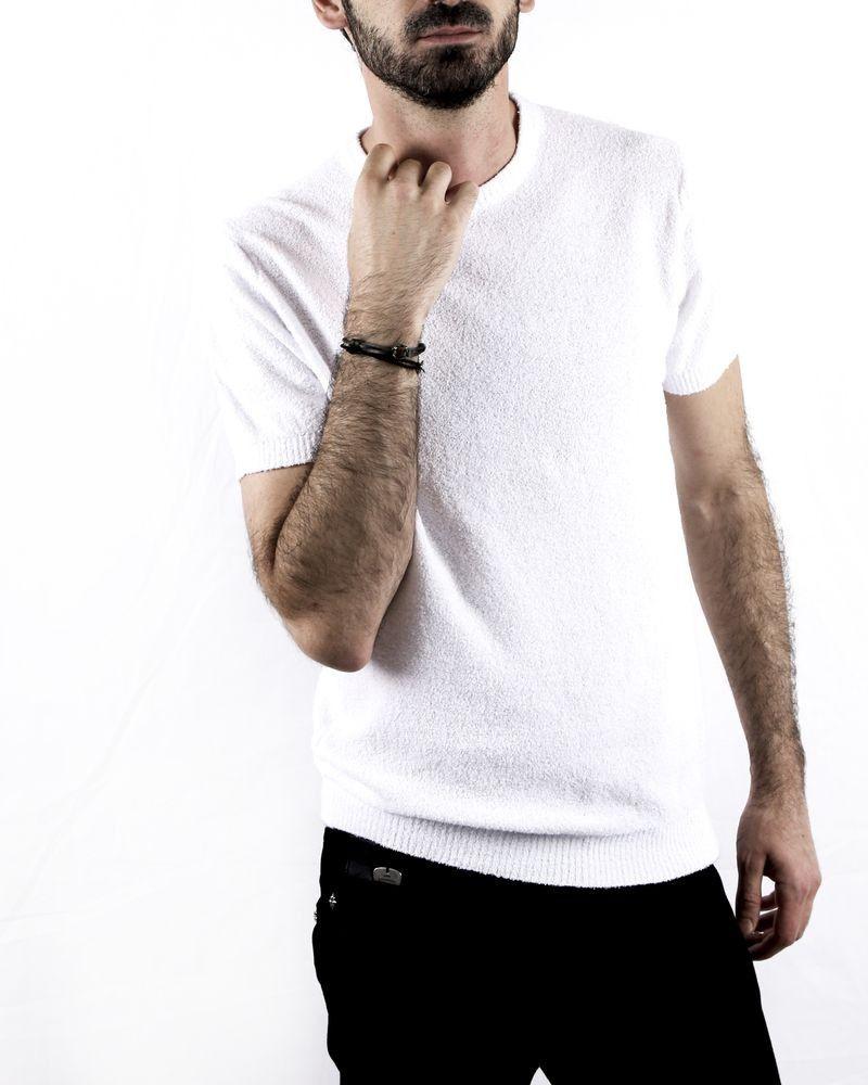Pull en coton piqué fin blanc à manches courtes Woolgroup