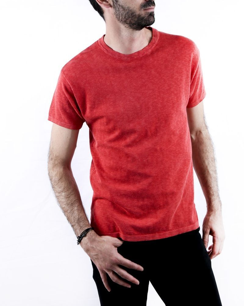 Pull rouge manches courtes Woolgroup