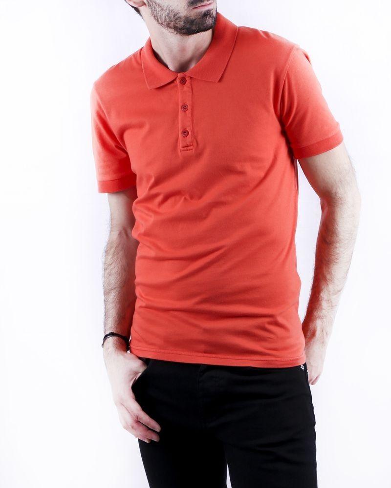 Polo en coton orange à manches courtes Woolgroup