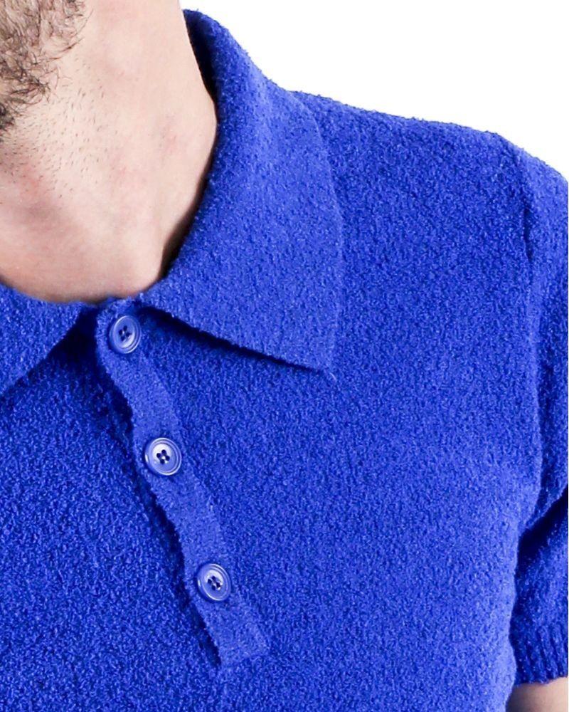 Polo en coton éponge bleu à manches courte Woolgroup