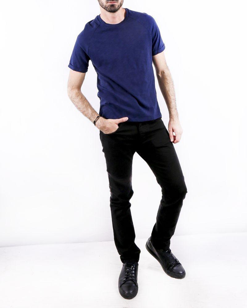 T-Shirt en coton bleu col rond Woolgroup