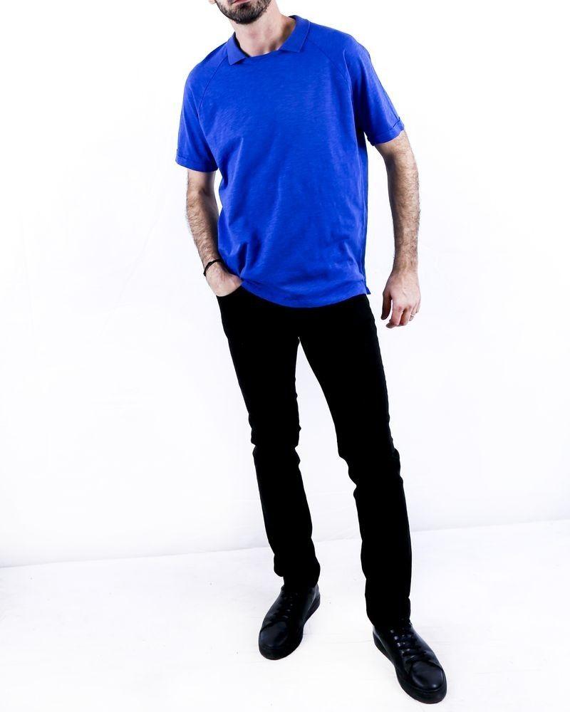 Polo bicolore en coton bleu électrique Woolgroup