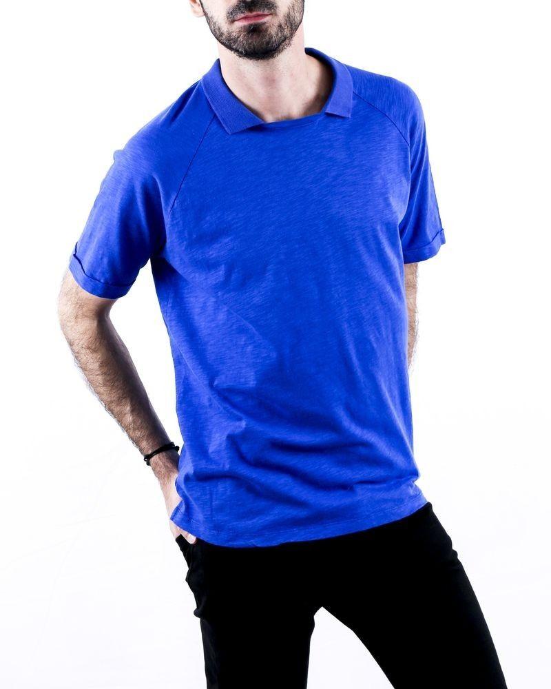 T-Shirt col façon polo bleu Woolgroup