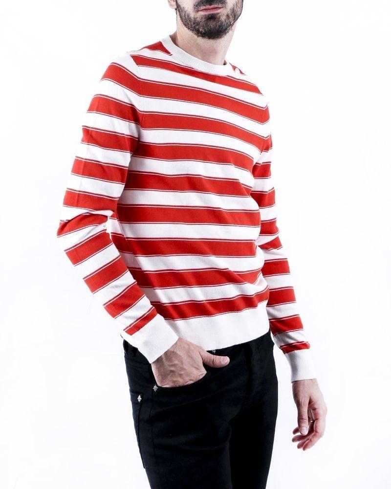 Pull bicolore en coton blanc à rayures rouge Zadig & Voltaire