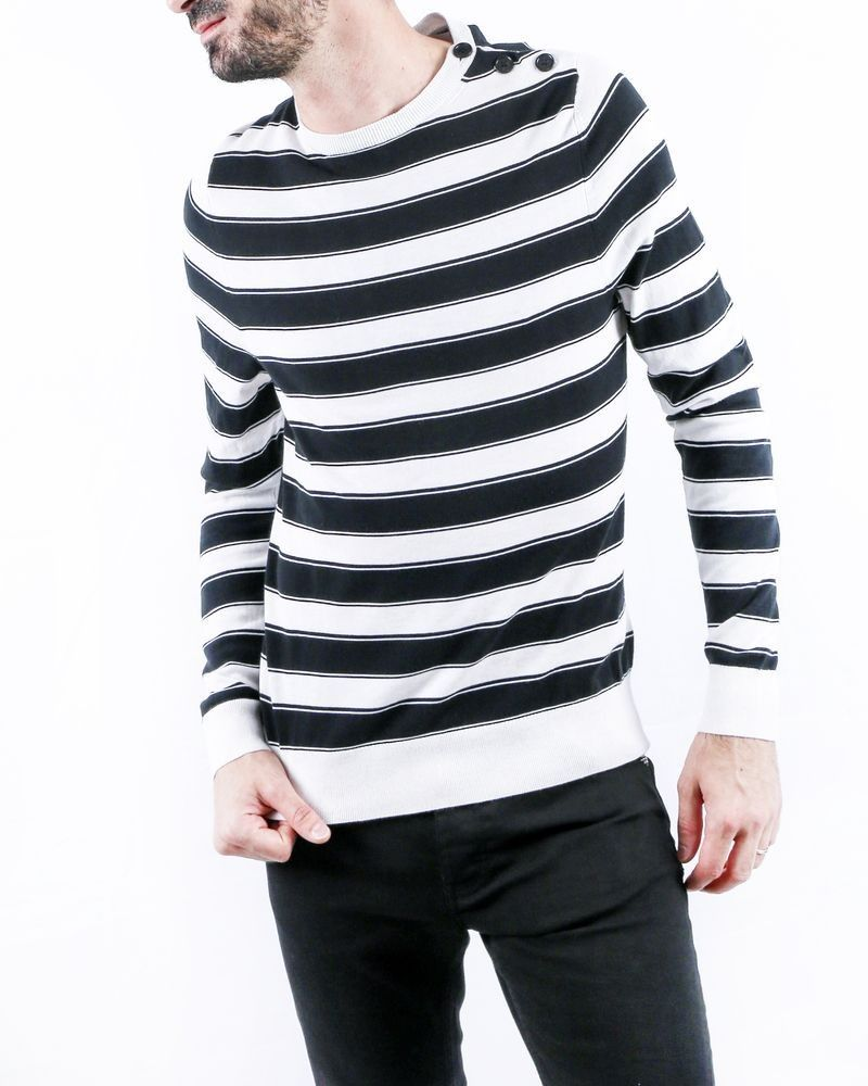 Pull blanc à rayures noires Zadig & Voltaire