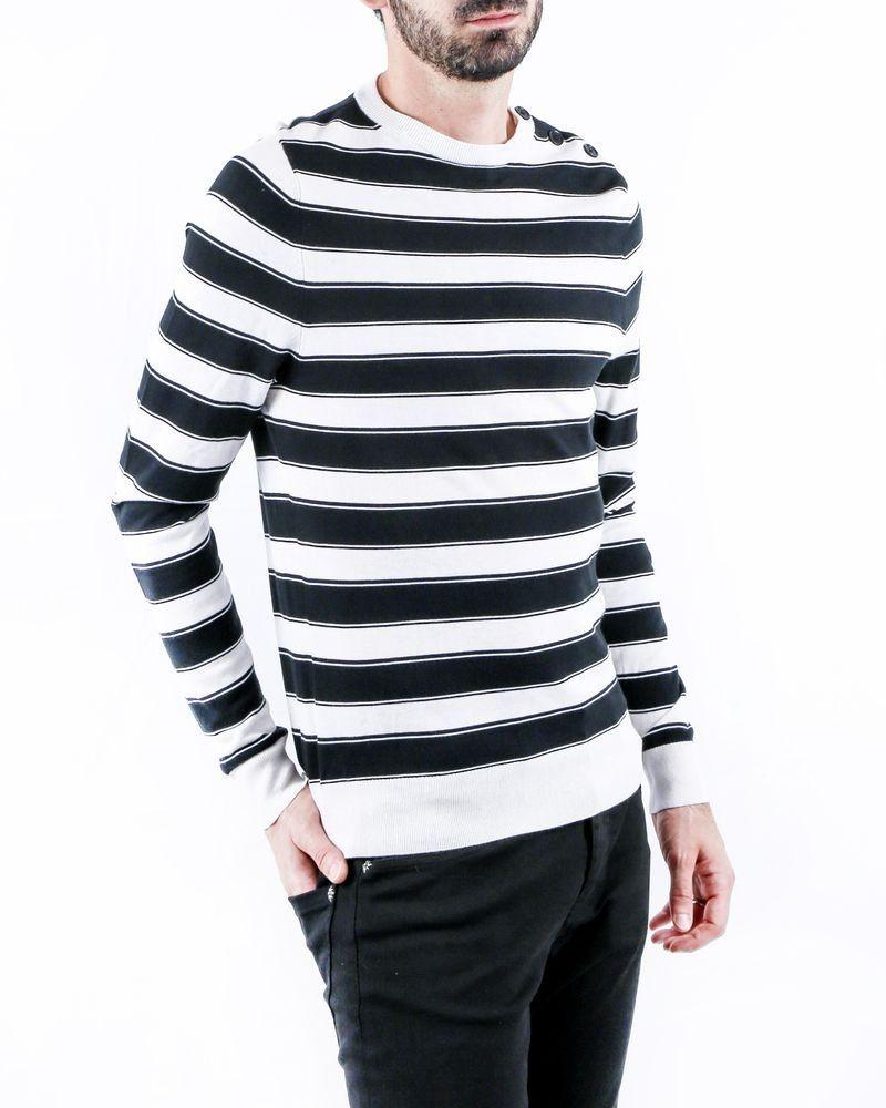 Pull bicolore en coton blanc à rayures noir Zadig & Voltaire