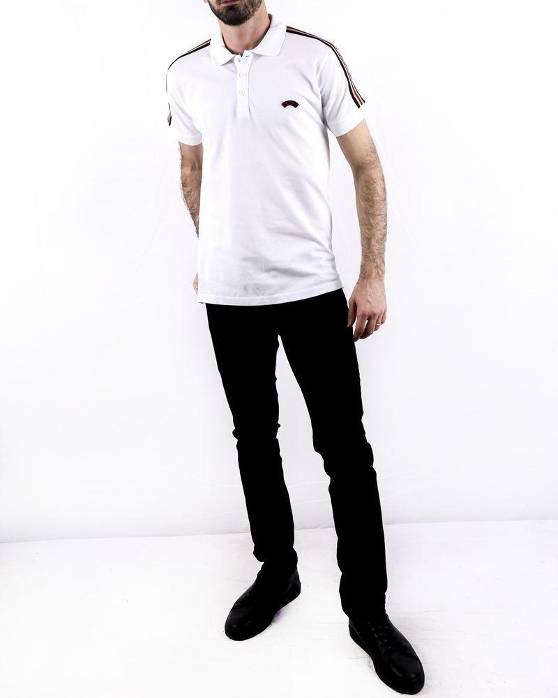 Polo en coton piqué blanc à bandes latérales Les Copains