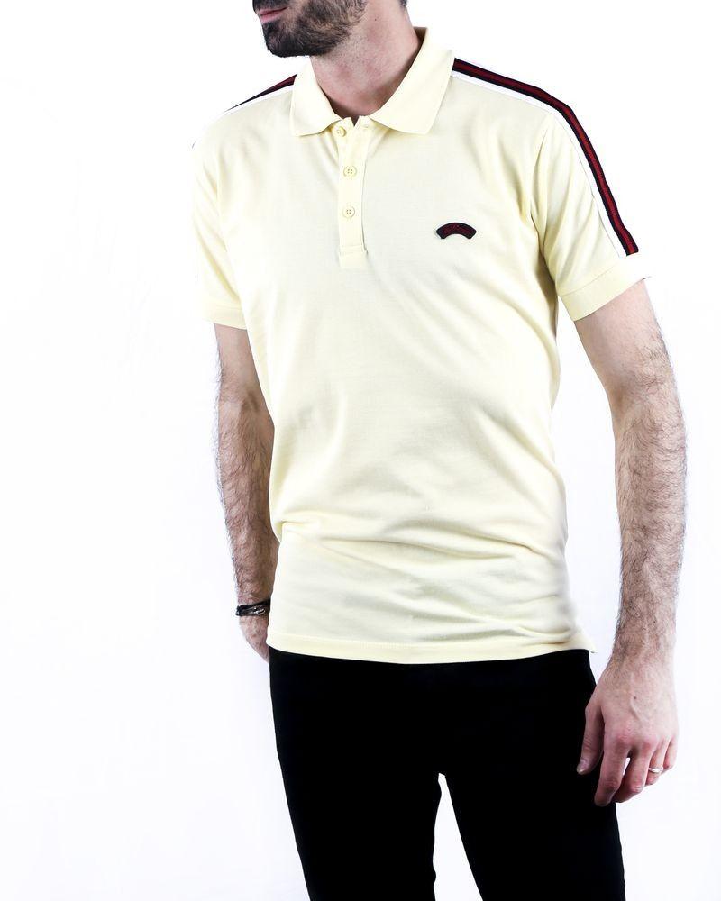 Polo en coton piqué jaune à bandes latérales Les Copains