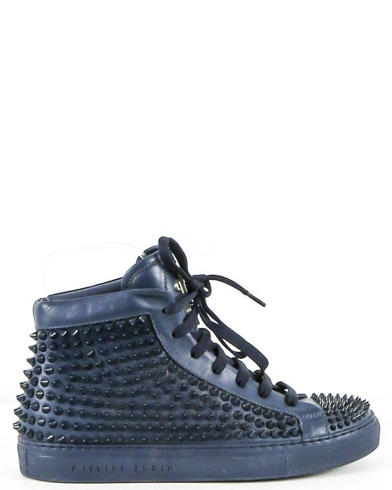Baskets montantes cloutées bleue Philipp Plein