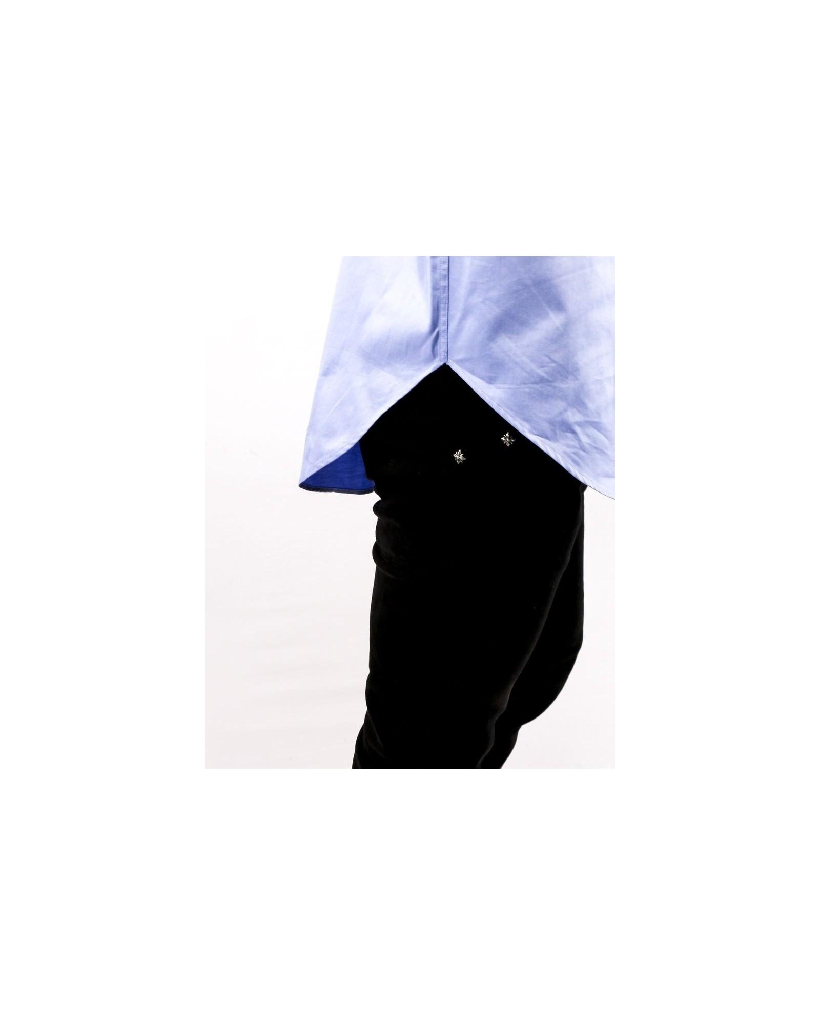 Chemise asymétrique en coton bleu Balmain