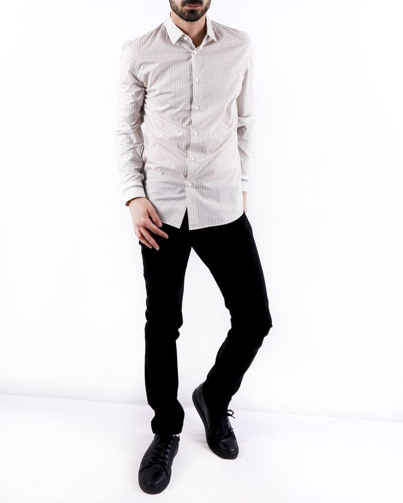 Chemise cintrée en coton blanc à carreaux Prada