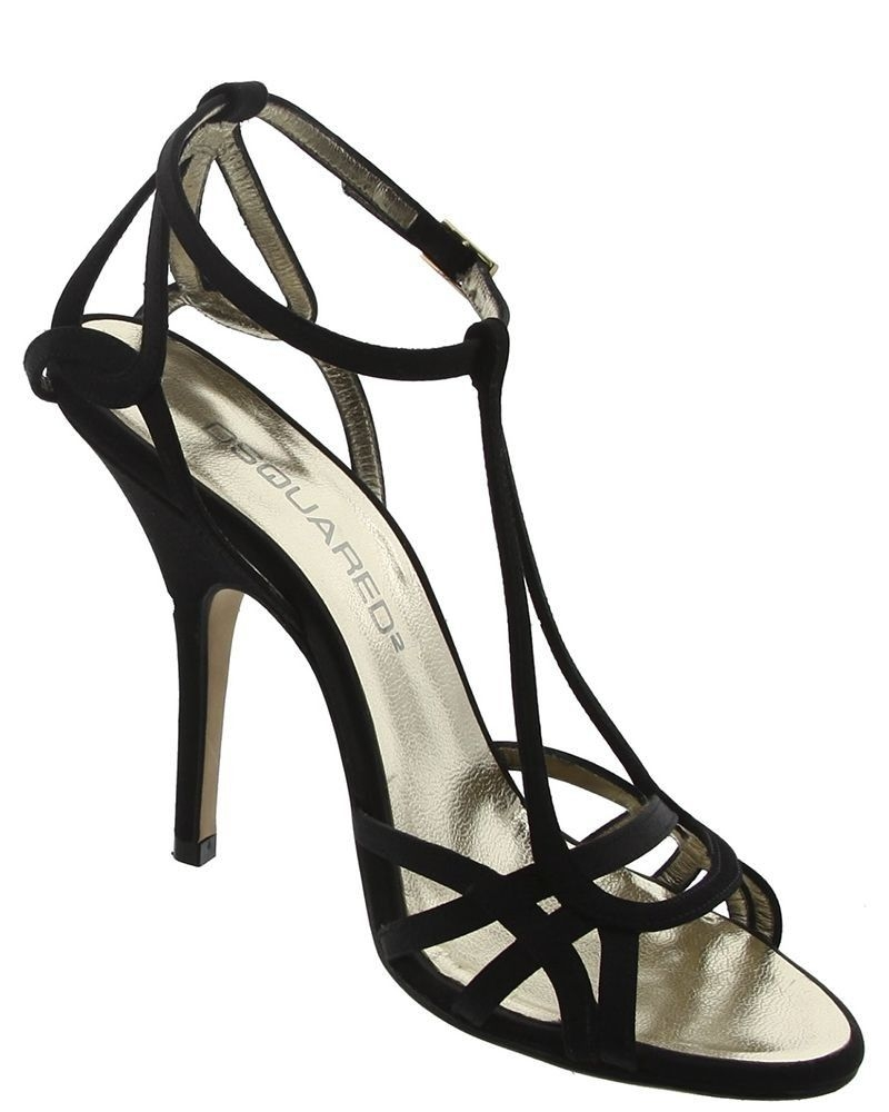 Sandale en satin noir DSQUARED