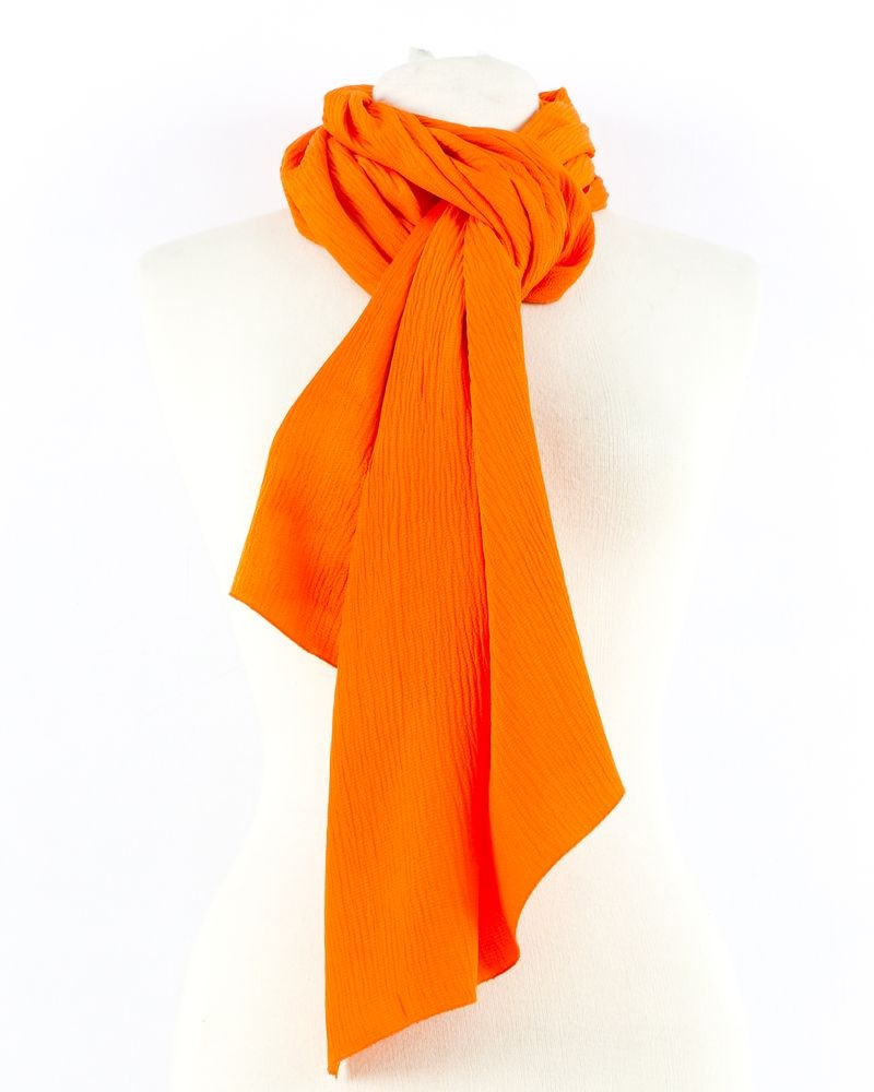 Grand foulard en soie orange Clips