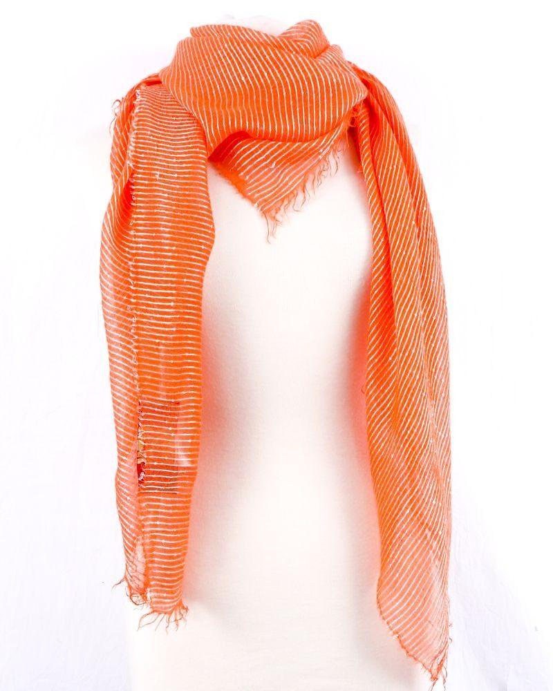 Grand foulard en soie lamé orange à sequins Space Simona Corsellini