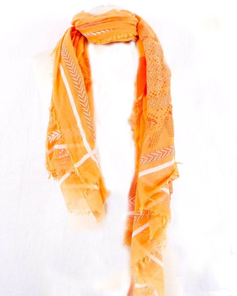Grand foulard en coton orange Marithé et François Girbaud