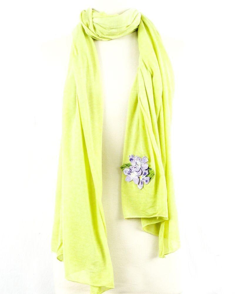 Foulard en coton vert à broderie fleurs Roberto Cavalli