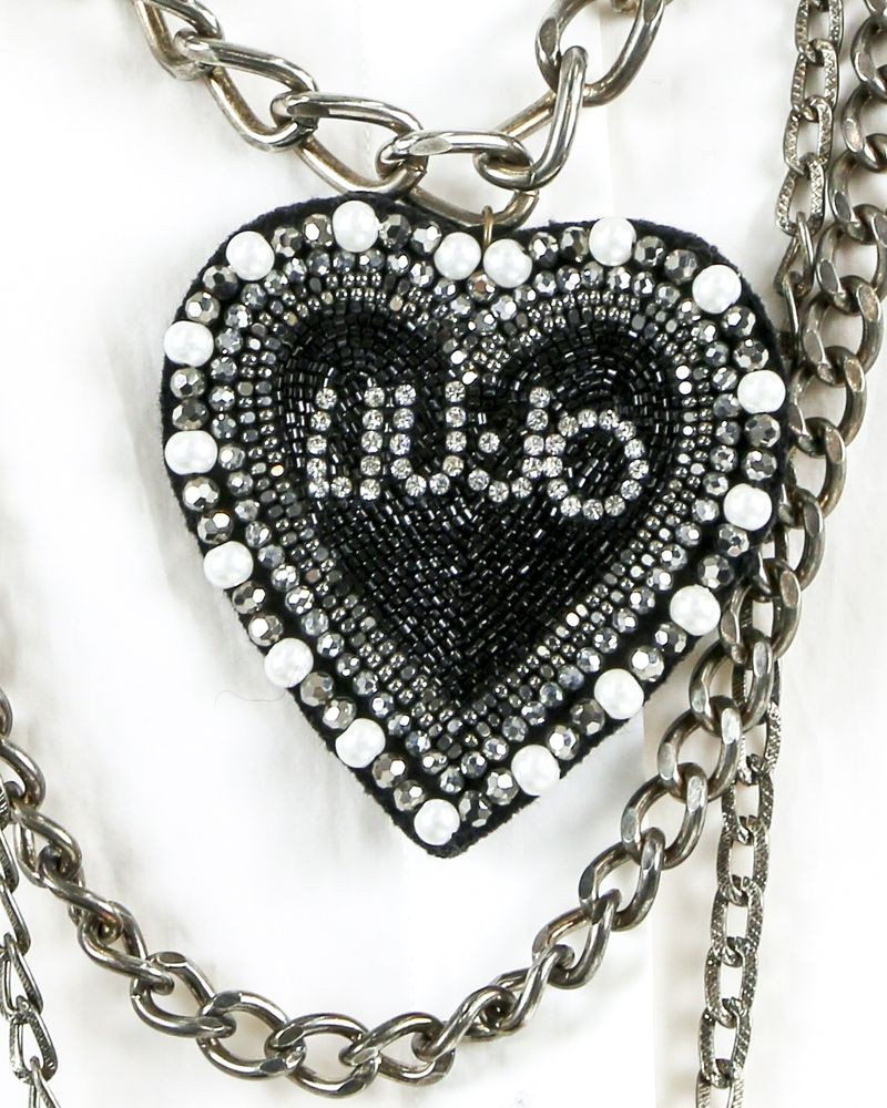 Collier sautoir en métal argent à pendentif XL Liu Jo