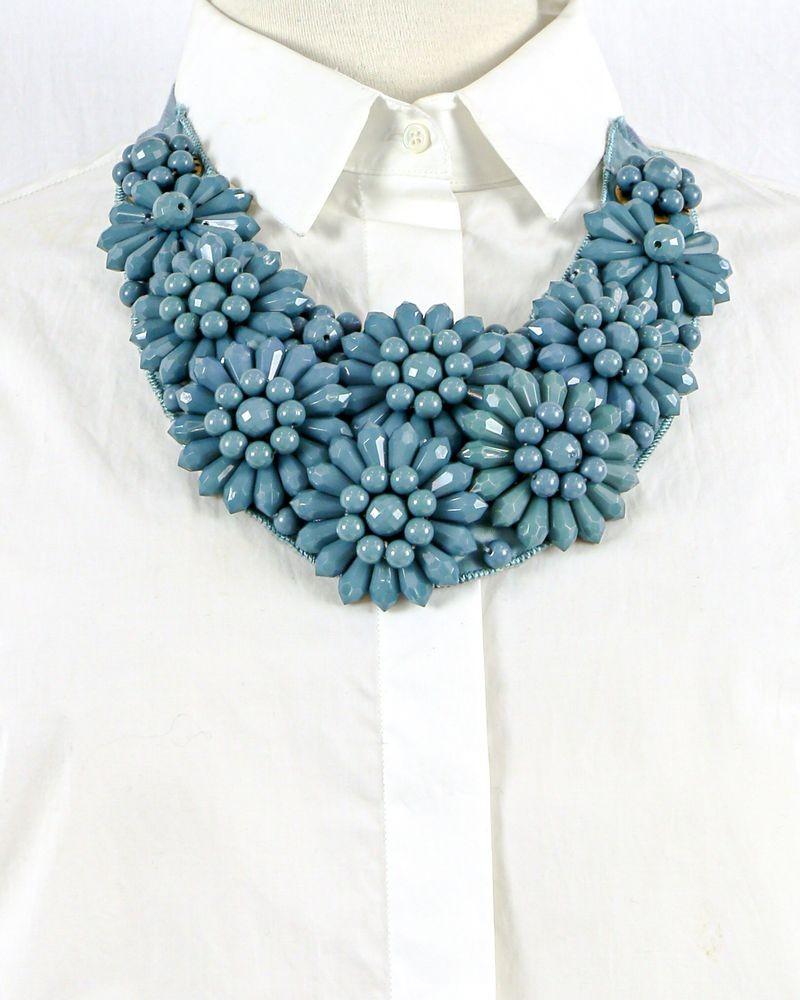 Collier plastron à perles fantaisies bleues Liu Jo