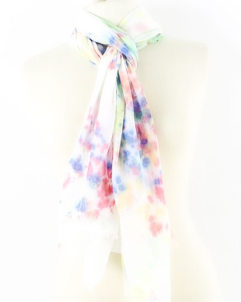 Foulard en coton blanc à motif fluo 7 for All Mankind