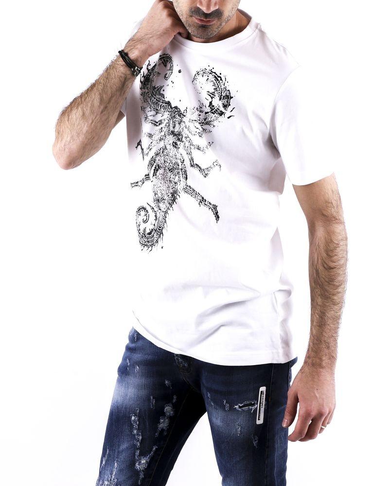T-Shirt en coton blanc à flocage homard John Richmond