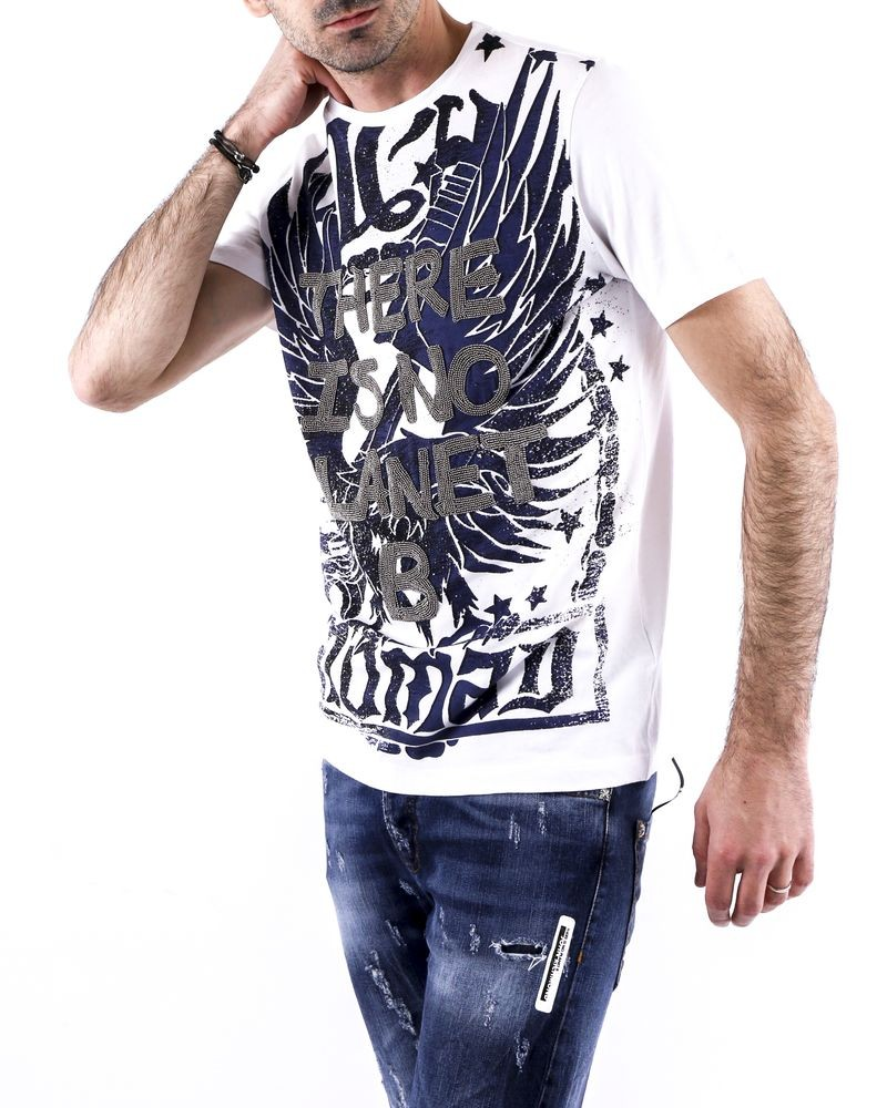T-Shirt en coton blanc à broderies perlées John Richmond