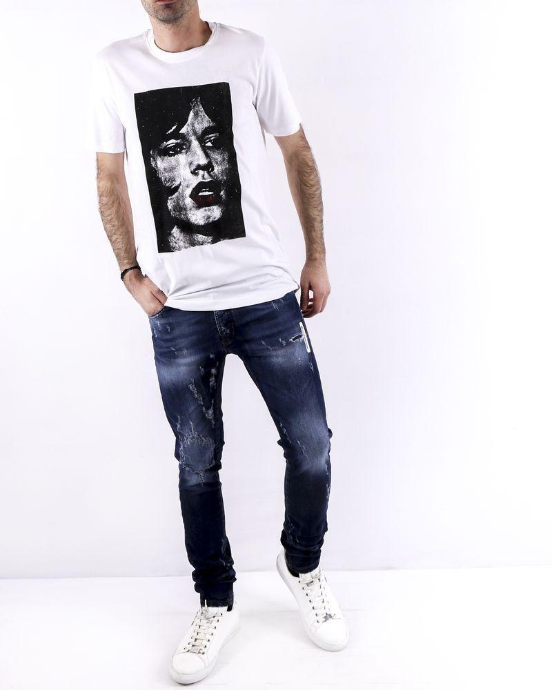 T-Shirt en coton blanc à flocage Mick Jagger John Richmond
