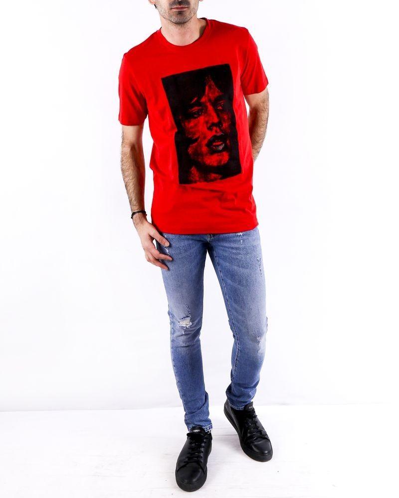 T-Shirt en coton rouge à flocage Mick Jagger John Richmond
