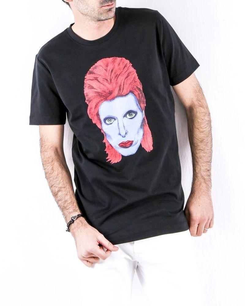 T shirt en coton noir chiné David Bowie John Richmond