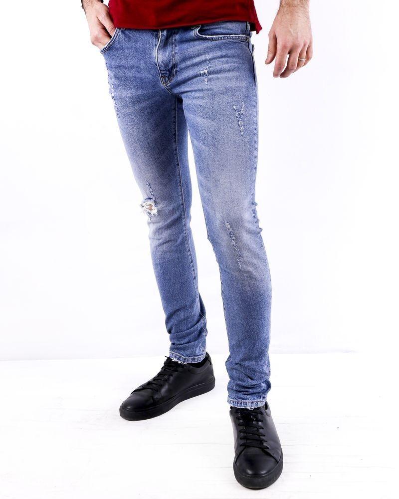 Jean super skinny en coton bleu brut John Richmond