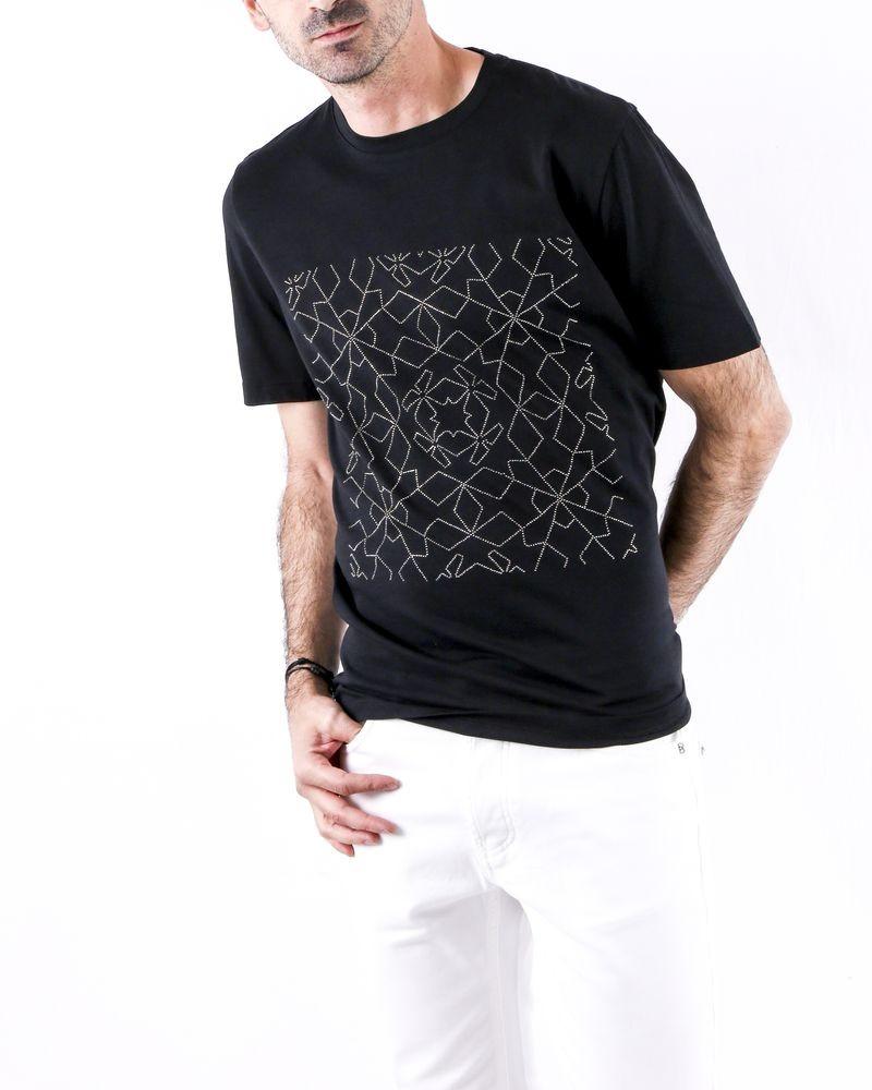 T shirt en coton noir à broderie strassée John Richmond