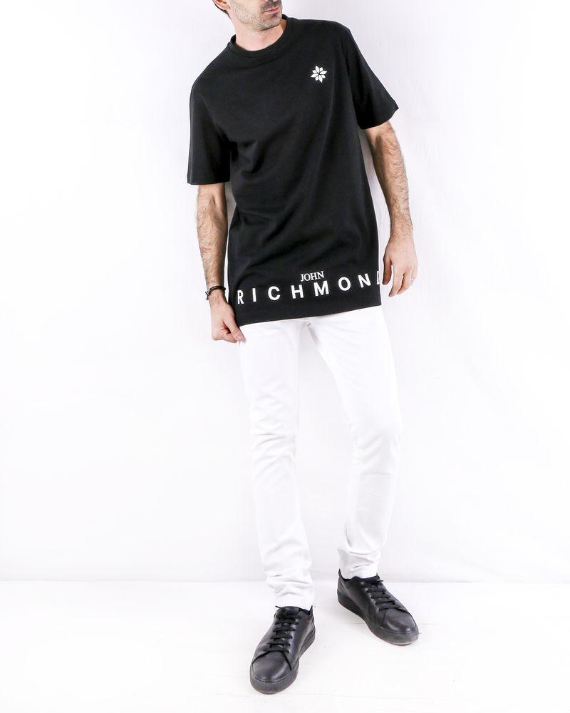 T shirt long en coton noir à flocage logo John Richmond