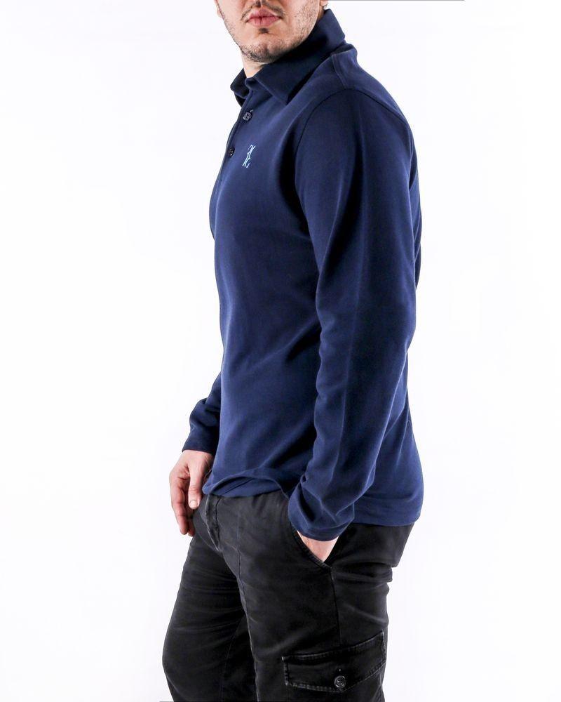 Polo à manches longues en coton piqué bleu Billionaire
