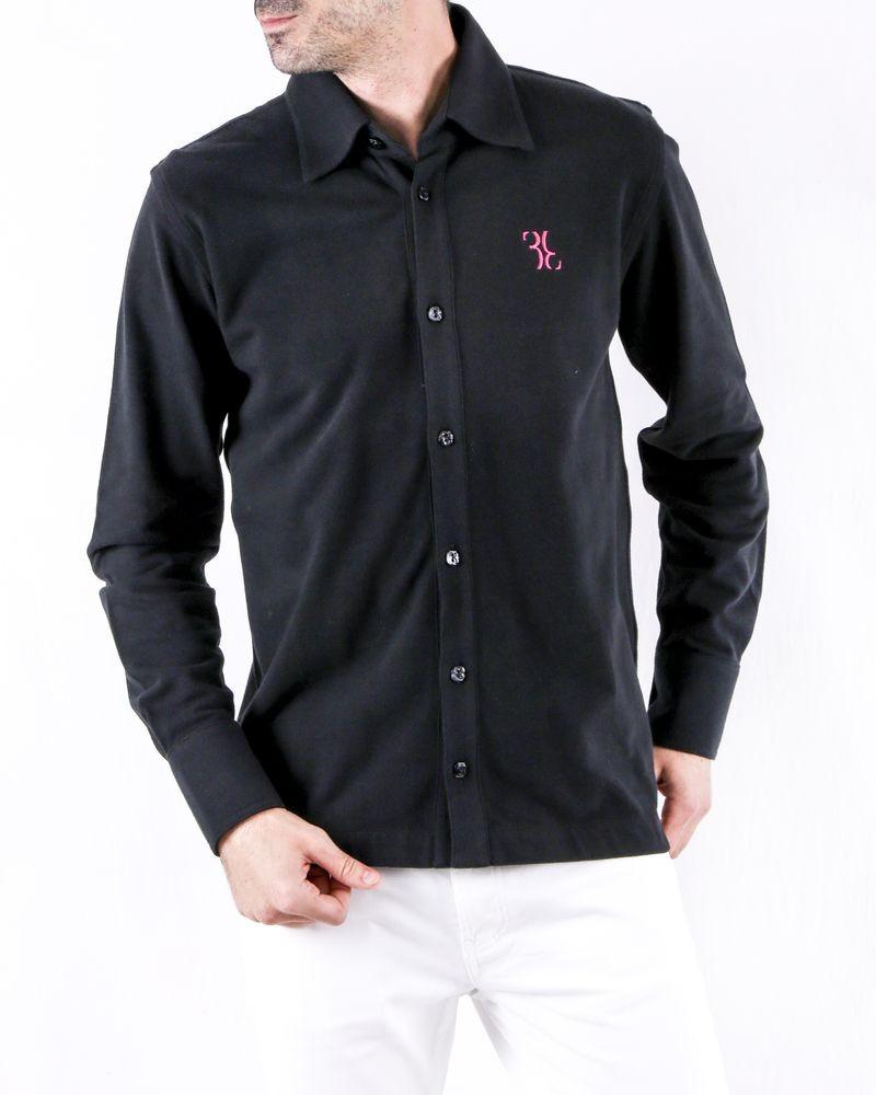 Chemise façon polo en coton piqué noir Billionaire