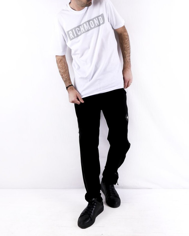 T shirt en coton blanc logo clouté John Richmond