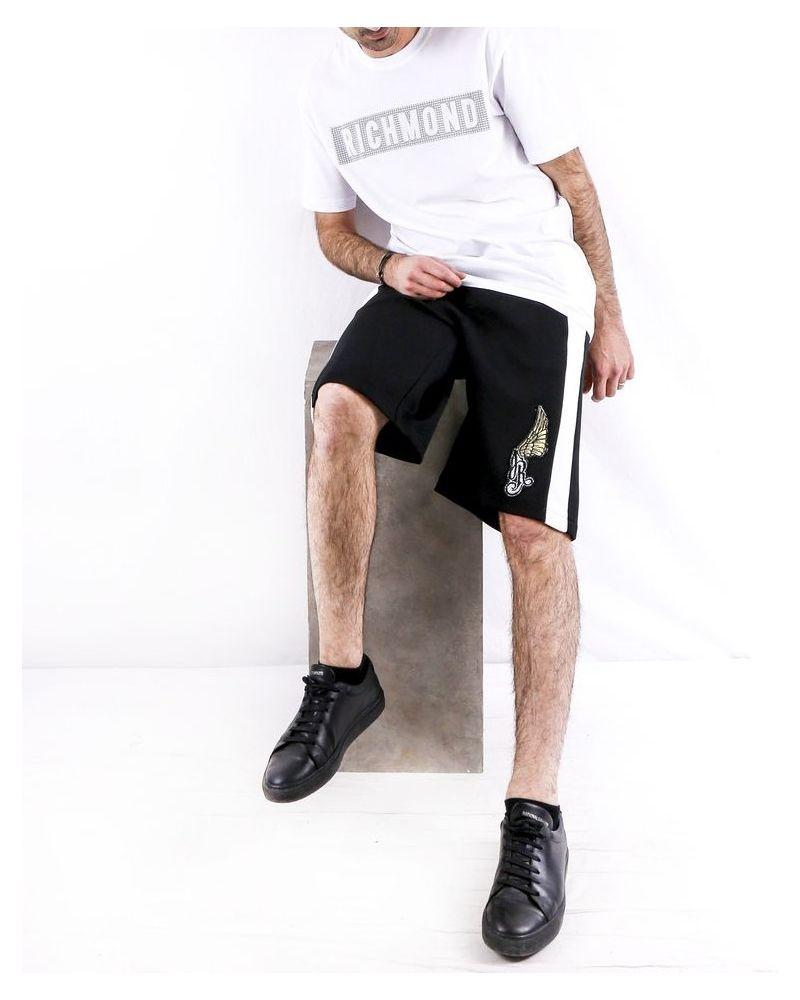 Short noir à bandes latérales John Richmond