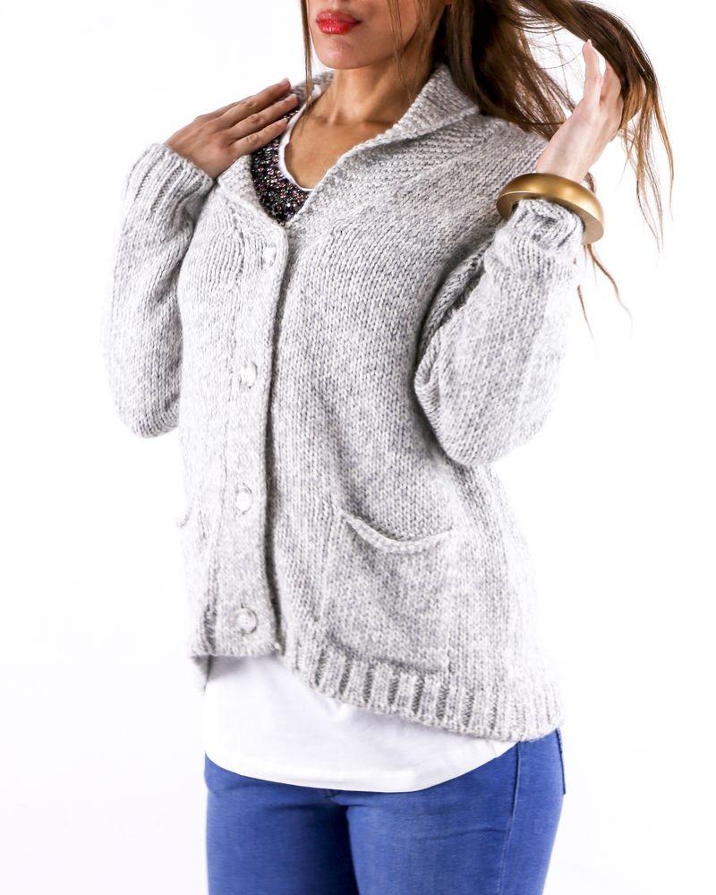 Gilet en laine gris à boutons nacré Woolgroup