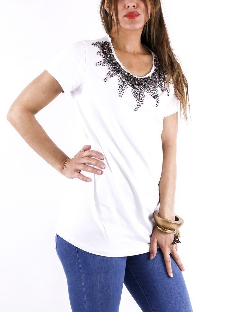 T-shirt blanc à col sertie de pierres L'Edition