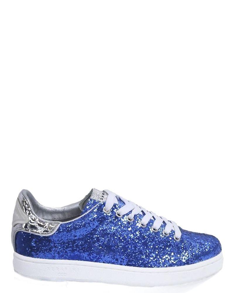 Tennis en cuir bleu à paillettes