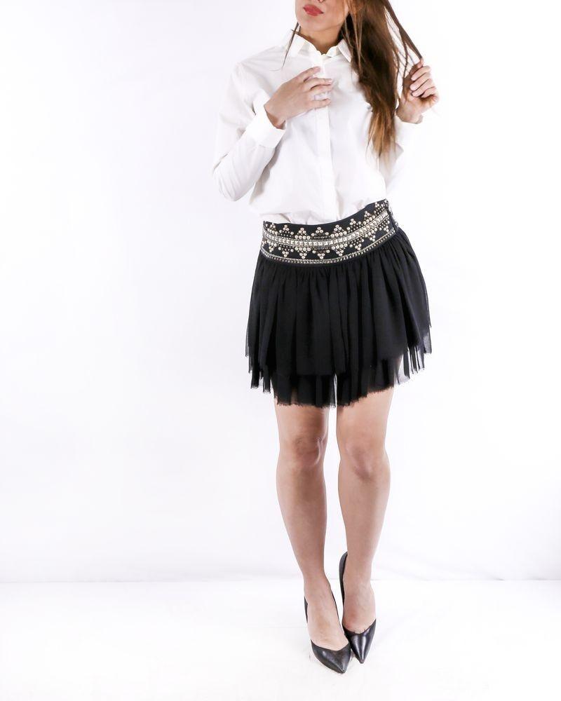 Mini jupe en tulle noir à ceinture cloutée Balmain