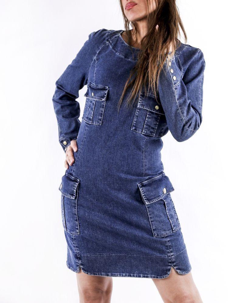 Robe en jean bleu à boutons dorés Balmain