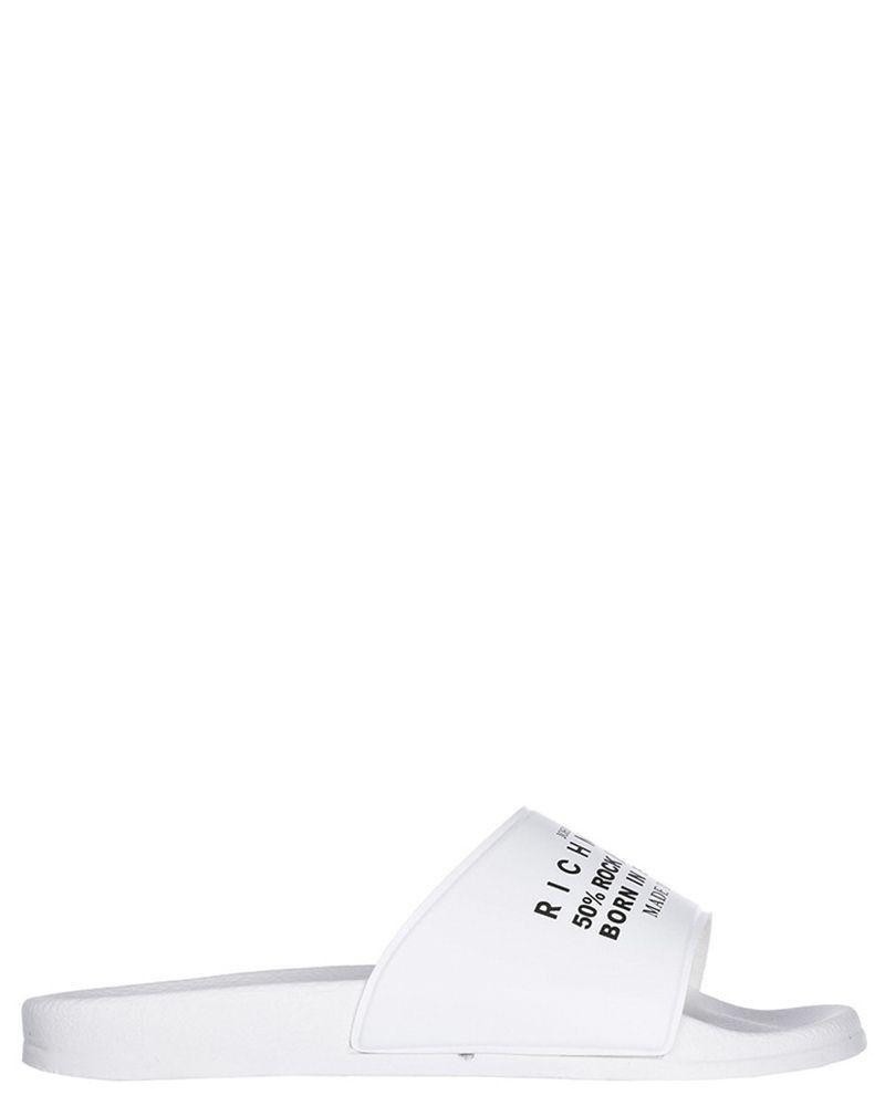 Sandale claquette en caoutchouc blanc à inscription Richmond noir John Richmond