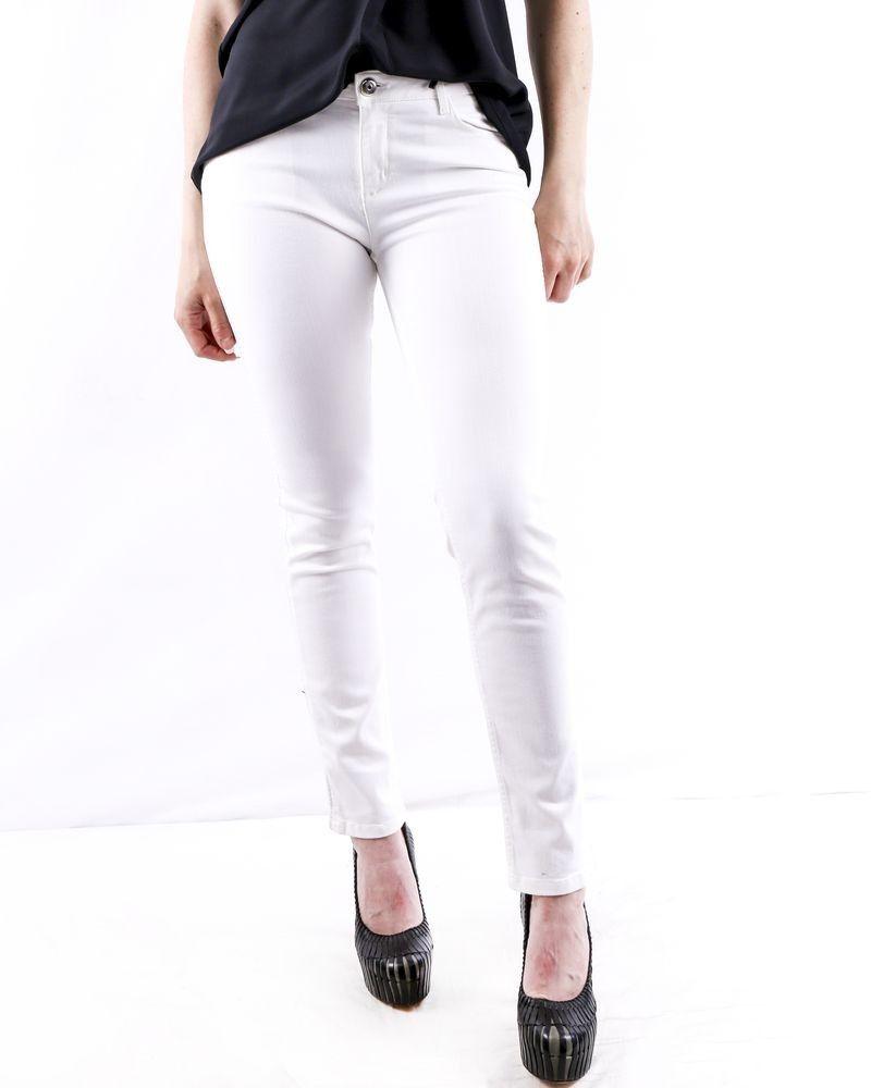 Jean skinny en coton blanc à bandes latérales May June