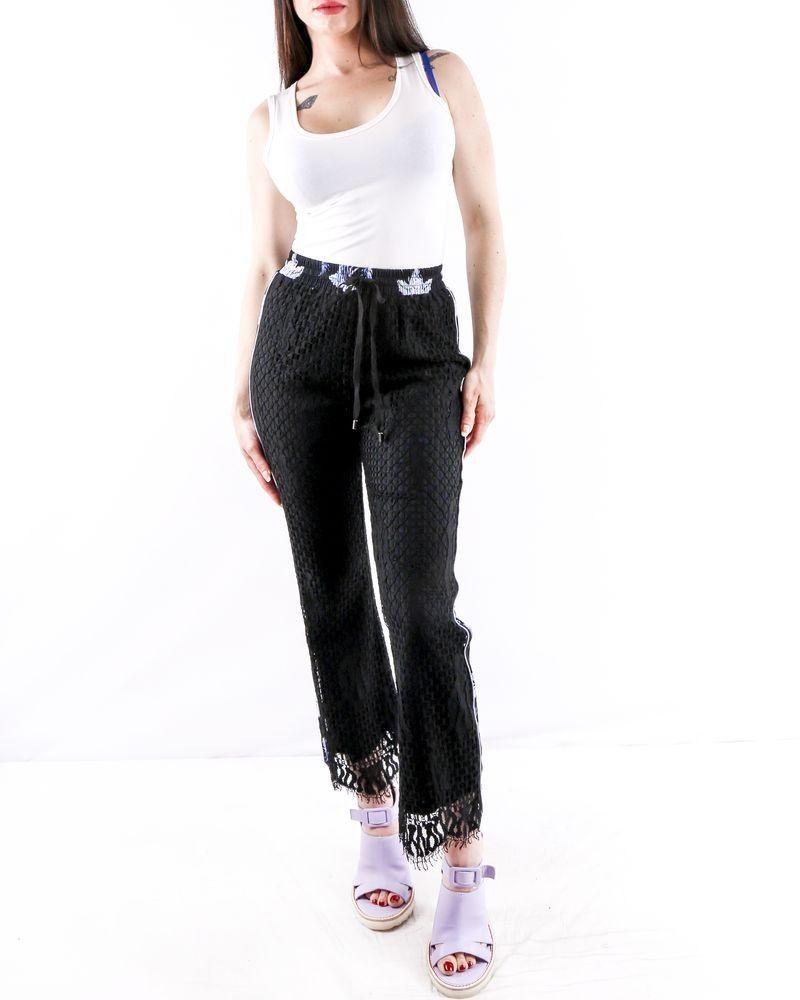 Pantalon smocké en dentelle noir à bandes latérales Isabelle Blanche
