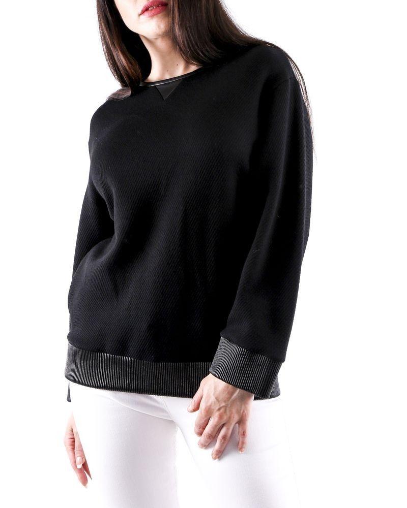Pull en coton noir à taille en cuir smocké Dsquared2