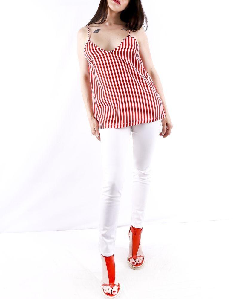 Débardeur caraco en soie blanc à rayures rouges Jijil