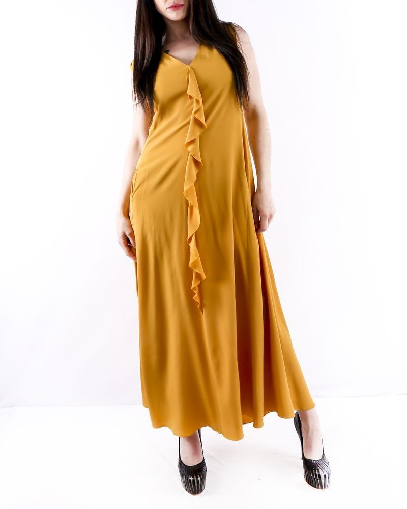 Robe longue en soie jaune moutarde à épaule smockée Les Copains