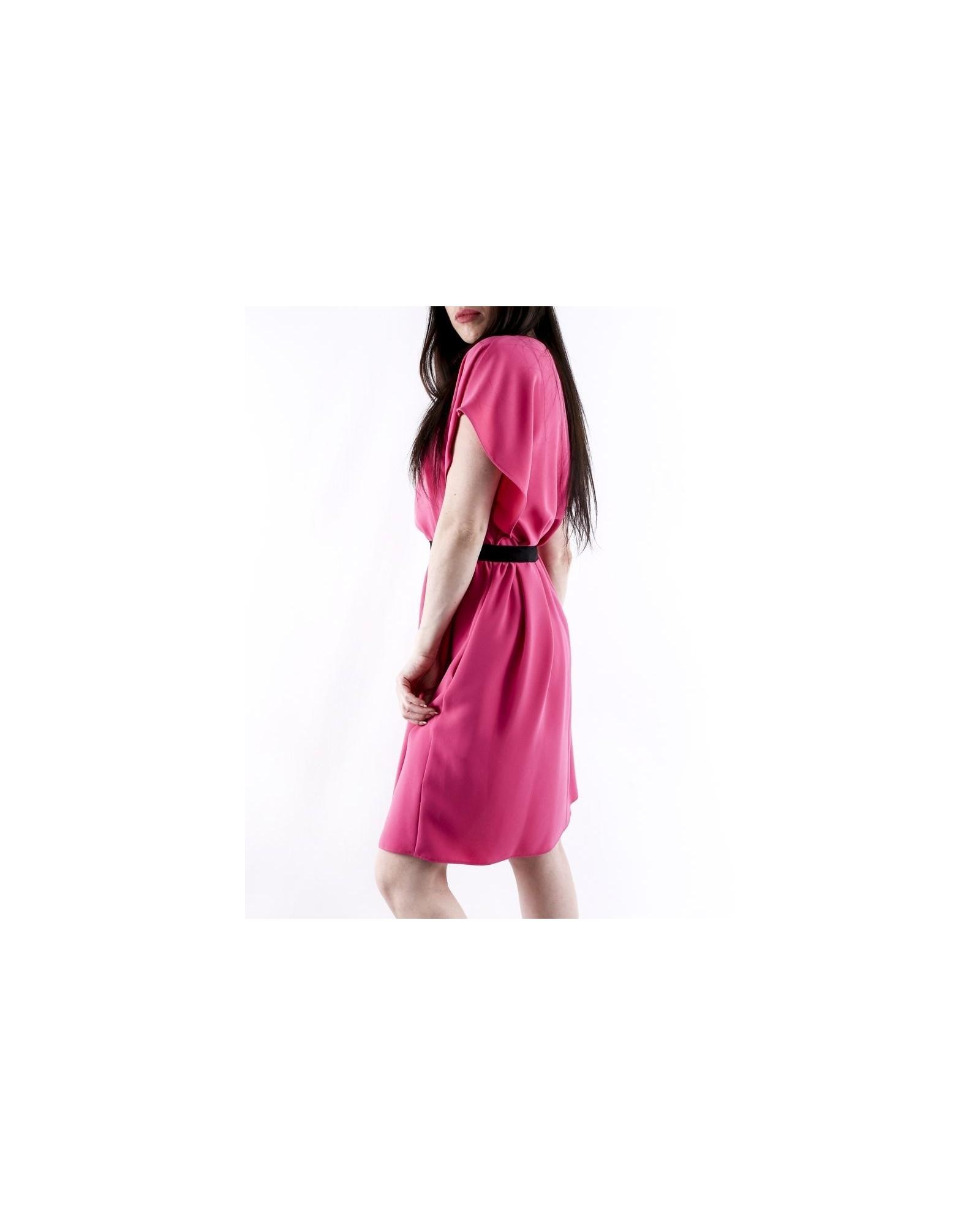 Robe chauve souris en crêpe rose à taille smocké Les Copains