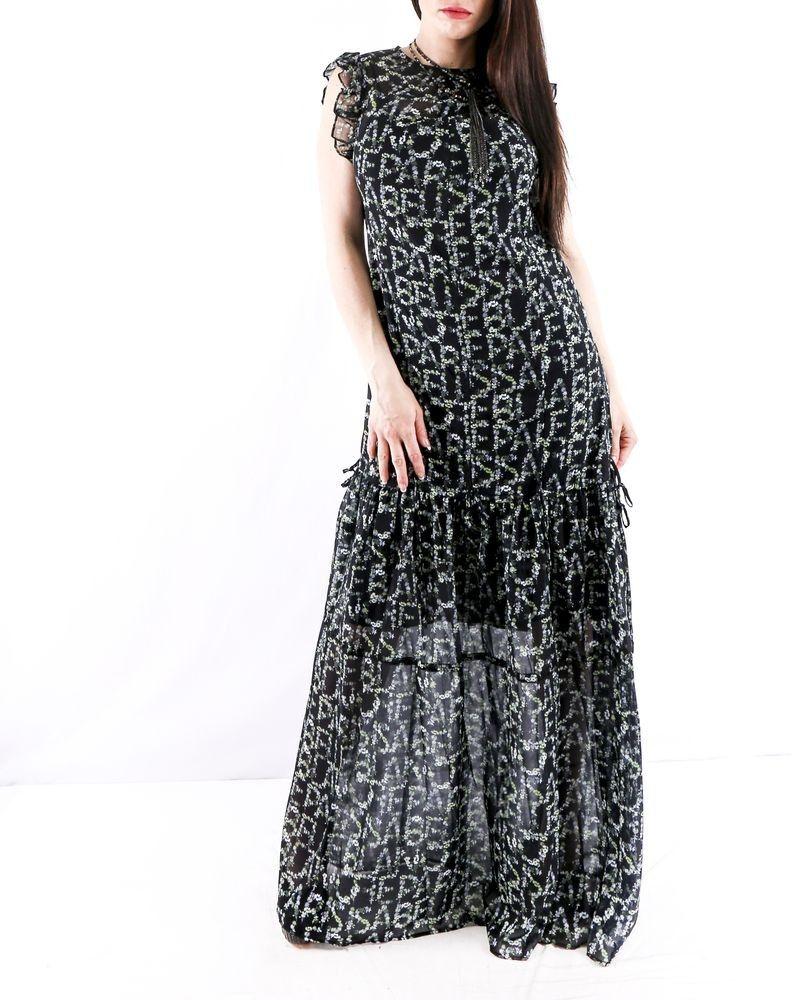 Robe Longue Volantee Noir A Motif Floraux Isabelle Blanche Pas Cher