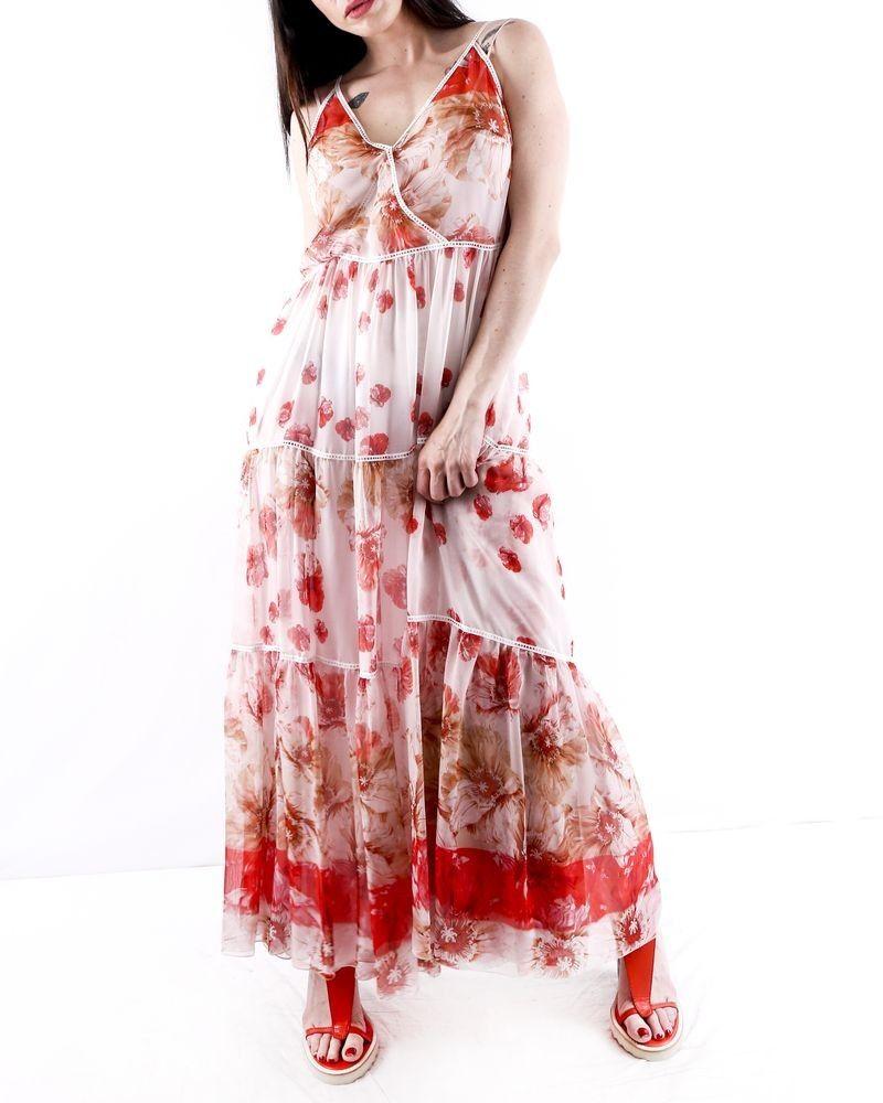 Robe longue en soie rose volanté à fleurs Les Copains