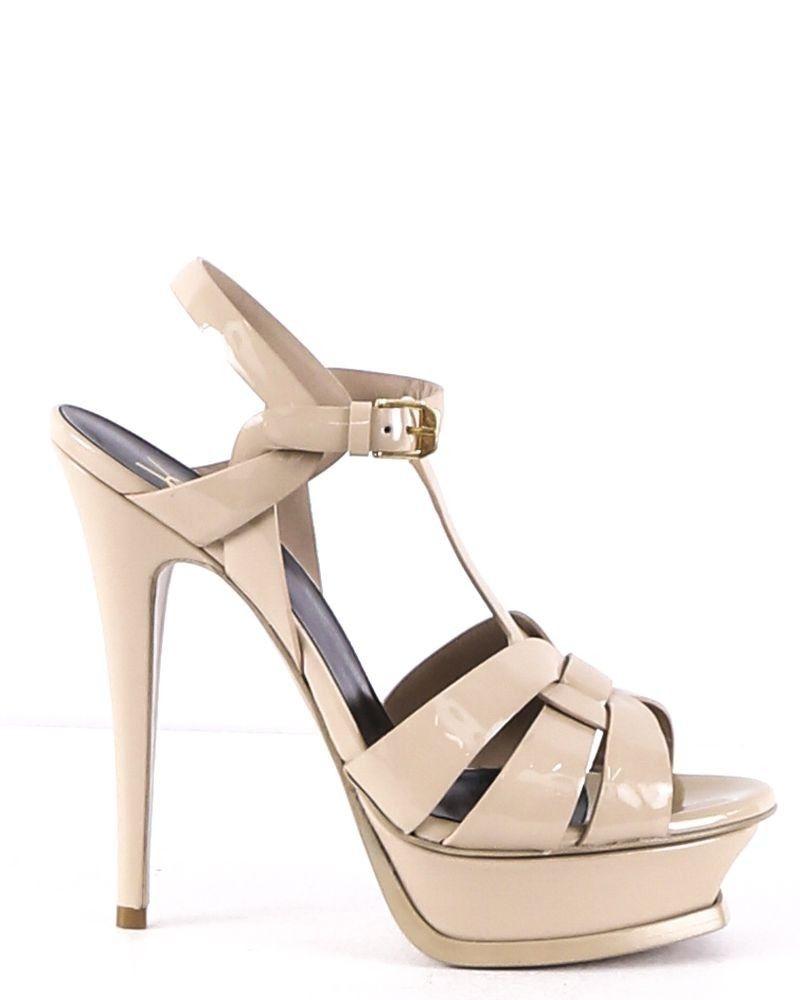 Sandales beige à plateforme Saint Laurent